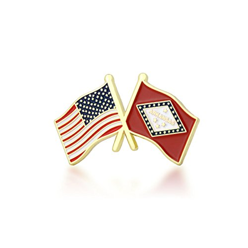 - GS-JJ American and Arkansas State Crossed Friendship Flag Lapel Pin (1 Piece)