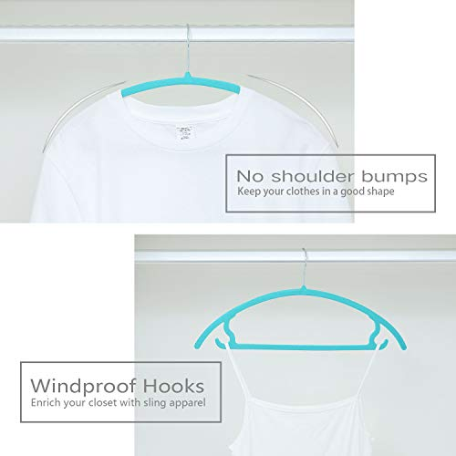 Heavyduty- Non Slip No Shoulder Bump Suit Hangers Pack of 50 Teal Green Chrome Hooks,Space Saving Clothes Hangers,Rounded Hangers for Coat,Sweater,Jackets,Pants,Shirts Premium Velvet Hangers