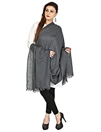 Pure Wool Shawl Scarf Womens Solid Color Indian Clothes(Grey, 80 x 40 inches)