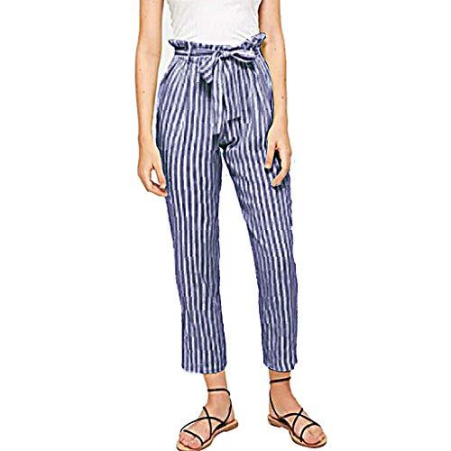 Pants Suits for Women,UOKNICE Tummy Control Women High Waist Pants Women Bowtie Elastic Waist Stripe Casual Pants