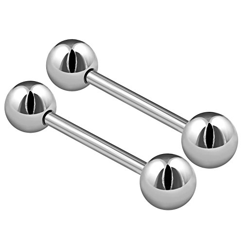 (2PCS Stainless Steel Stud Barbell Tongue Rings 14 Gauge 5/8 16mm 6mm Ball Nipple Bars Piercing Jewelry 2504)