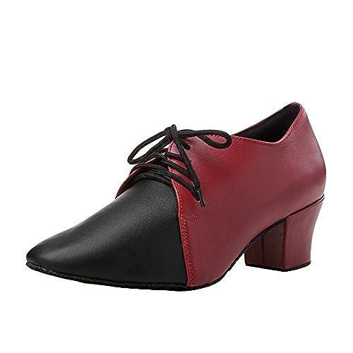 4b85297d082 TDA Women s Close Toe Chunky Heel Lace-up Leather Salsa Tango Ballroom Latin  Dance Shoes