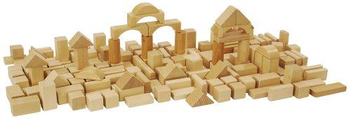Heros 100010131 - 100 Natur-Bausteine in der Trommel zur Aufbewahrung - hochwertiges Buchenholz - Holzbausteine Made in Germany