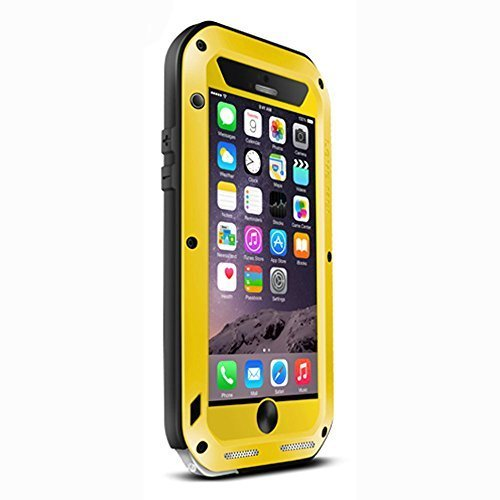 iPhone 6S Case,3C-Aone[Newest]Gorilla Glass Luxury Aluminum Alloy Protective Metal Extreme Water Resistant Shockproof Military Bumper Heavy Duty Cover Shell Case for Apple iPhone 6S (Yellow)