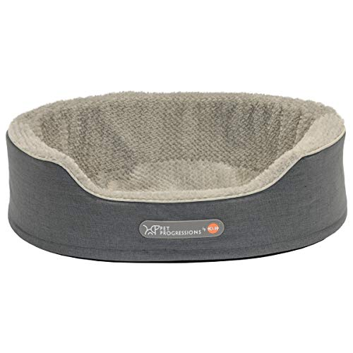 Pet Progressions by K&H Gel Infused Memory Foam Oval Cuddler Pet Bed Medium Grey - Soothing Comfort & Support for Adult or Senior Dogs & Cats ()