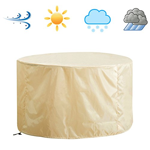 Patio Round Table and Chair Set Cover, Weatherproof Outdoor Furniture Cover, Water Resistance, Beige Color (Medium)