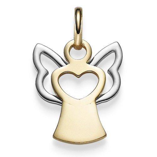 Schmuck-Krone - Goldschmuck Pendentif en forme d'anges et cœurs en or jaune585 et or blanc 21x12mm