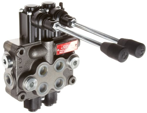 Prince MB21BB5C1 Directional Control Valve, Monoblock, Cast Iron, 2 Spool, 4 Ways, 3 Positions, Double  Acting Cylinder Spool, Spring Center, Straight Handle, 3500 psi, 8 gpm, In/Out: #8 SAE, Work #8 SAE - Hydraulic Control