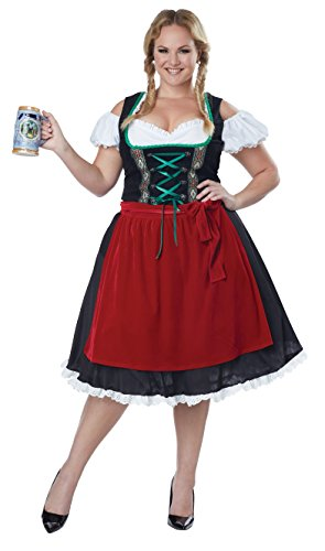 Beer Maiden Costume (California Costumes Women's Oktoberfest Fraulein Plus Size Costume, Black/Red,)