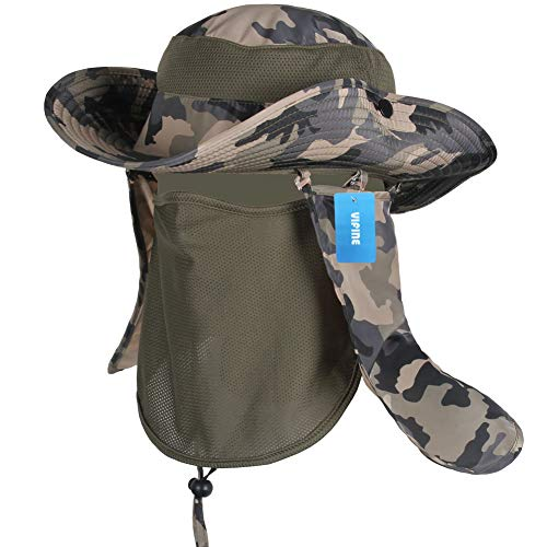 Protection Cowboy Sun (VIFINE Sun Cap Fishing Hat for Men Women, Sun Hat Wide Brim, Sun Protection with Removable Neck Flap, Face Cover Mask, Military Boonie Hat for Outdoor Sports & Travel)