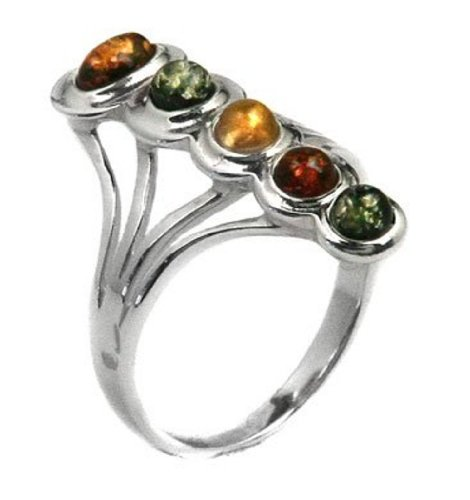 Multicolor Amber and Sterling Silver Fashion Statute Ring Size 5,6,7,8,9,10,11,12