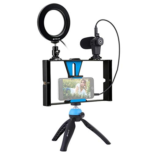 Microphone Flush Mount - HJuyYuah Smartphone Video Rig Phone Video Stabilizer Grip Tripod Mount with Microphone