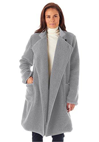 Woman Within Plus Size Rib Knit Collar Berber Jacket (Heather Grey,M) ()
