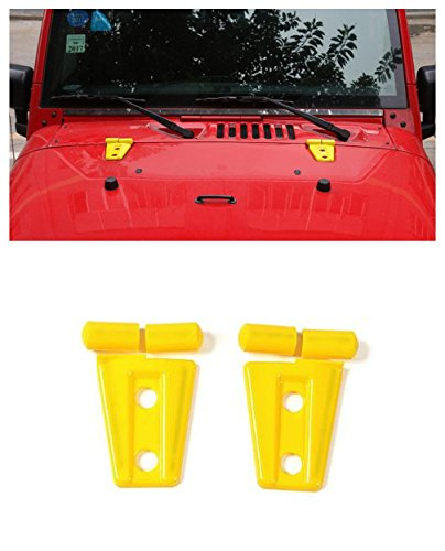 Niceautoitem 5Colors Exterior Decoration Engine Hood Hinge Cover Sticker ABS Jeep Wrangler 2007-2017 (Yellow)