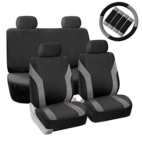 FH GROUP Pique Fabric Full Set Seat Covers with Steering Wheel Covers and Seat Belt Pads Gray / Black- Fit Most Car, Truck, Suv, or Van
