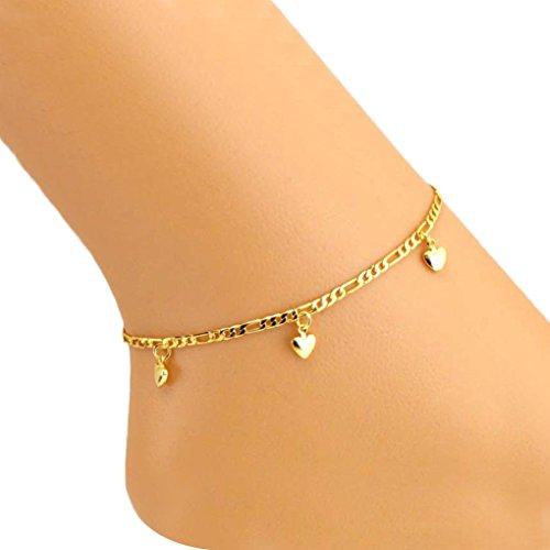 (Kanzd Solid Heart Women Ankle Bracelet Barefoot Sandal Beach Foot Jewelry)
