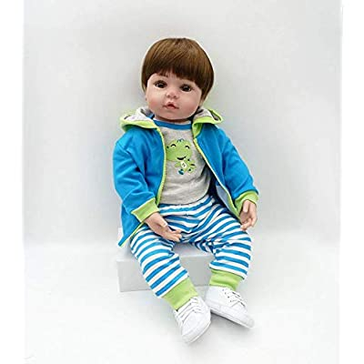 Nicery Icradle Reborn Baby Doll Soft Simulation Silicone Vinyl Cloth Body 21inch 53cm Lifelike Vivid Boy Girl Toy for Ages 3+ RD55C320W: Toys & Games