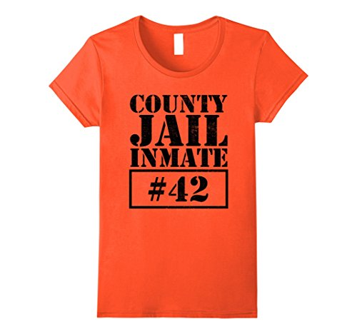 Jail Costume Toddler (Womens Prisoner Costume T-Shirt Funny County Jail Inmate Escaped Large Orange)