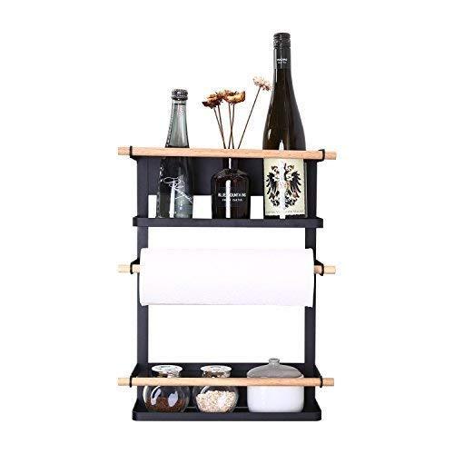 Kitchen Rack - Magnetic Fridge Organizer - 18x12.7x5 INCH - Paper Towel Holder, Rustproof Spice Jars Rack, Heavy-duty Refrigerator Shelf Storage Including 6 Removable Hooks (BLACK) - 2019 New Design by GRECLE