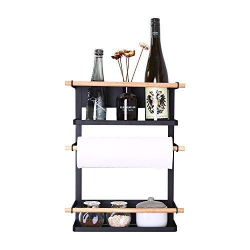 Kitchen Rack - Magnetic Fridge Organizer - 18.1x12.7x5 INCH - Paper Towel Holder, Rustproof Spice Jars Rack, Heavy-duty Refrigerator Shelf Storage Including 6 Removable Hooks (BLACK) - 2019 New Design ()