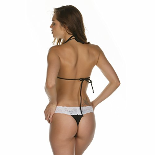 Swimwear Bikini Lady Black amp; pizzo micro White superiore brasiliano inferiore Tiny g Swimsuit perizoma string rHrYwqC