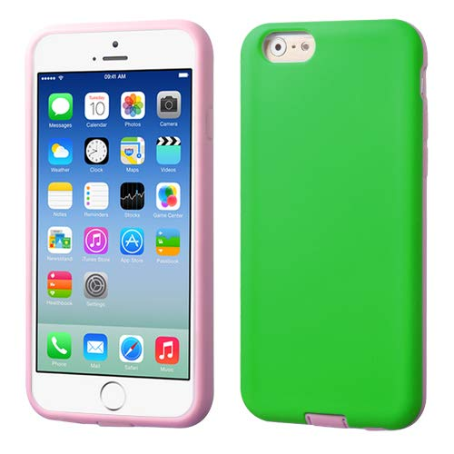 (Asmyna Advanced Armor Protector Cover for iPhone 6 - Retail Packaging - Green/Light Pink)