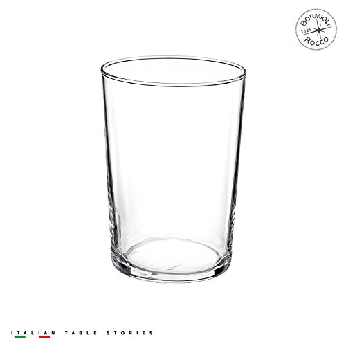(Bormioli Rocco Bodega Collection Glassware – Set Of 12 Maxi 17 Ounce Drinking Glasses For Water, Beverages & Cocktails – 17oz Clear Tempered Glass Tumblers)