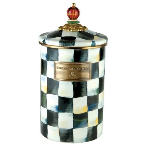 MacKenzie-Childs Courtly Check Enamel Canister - Large 5'' dia., 7'' tall by MacKenzie-Childs