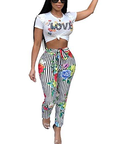 Women 2 Piece Outfits Floral Stripes Crop Top Long Pant Clubwear Black L