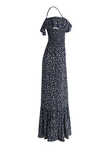 Plage Épaule Hors Sexy Imprimé Floral Féminin Simplee Vêtements Fête Maxi Bleu Marine Robe De