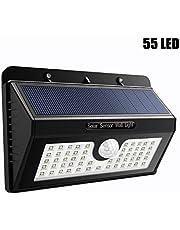 Echoming Foco Solar LED Exterior, 3 Modos Foco Solar 55 LED Jardin Exterior con Sensor Movimiento IP65 Impermeable Luz Solares LED
