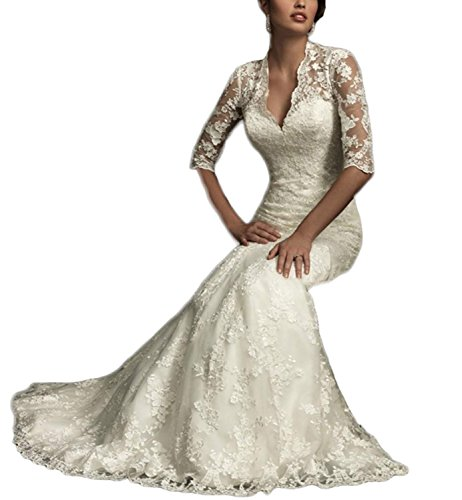 Women's Country 2018 Dress Long Wedding Lace Bridal Style Ellenhouse Sleeves Ivory Vintage With xXdCq5Xw