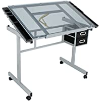 Super Deal Adjustable Drafting Table Drawing Desk Craft Station w/ Drawers, Silver with Blue Glass