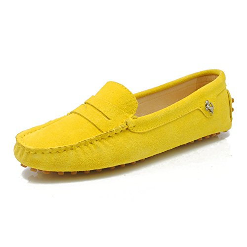 Minitoo - Mocasines de ante para mujer Yellow-Suede Leather