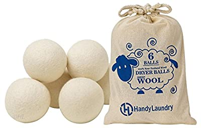 Wool Dryer Balls - Pack of 6 - Natural Fabric Softener, Reusable, Reduce Wrinkles, Saves Drying Time. Anti Static Large Felted Wool Clothes Dryer Balls is a Better Alternative to Plastic Balls.