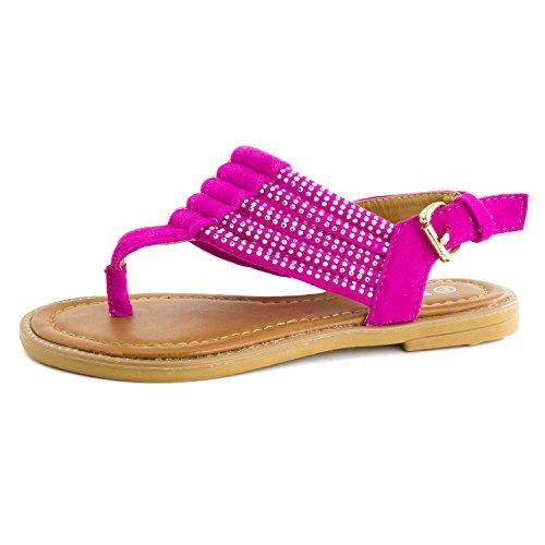 Kid Little Kid Link Big Flat Rhinestone Sandals Girls Thong Fuchsia Gladiator Toddler 8qUw0On8