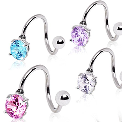 316L Surgical Steel Prong Set Round CZ Twist (Sold Individually)