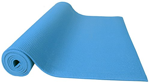 BalanceFrom GoYoga All Purpose High Density Non-Slip Exercise Yoga Mat with Carrying Strap, 1/4, Blue
