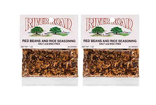 Cajun Small Red Beans - River Road Red Beans and Rice Seasoning (Salt-Free, No MSG Blend), 1 Ounce Bag (Pack of 2)