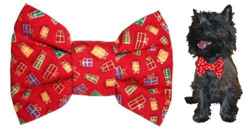 Calvin K-nine Holiday Bowtie with Christmas Presents (M) 5″ wide, My Pet Supplies