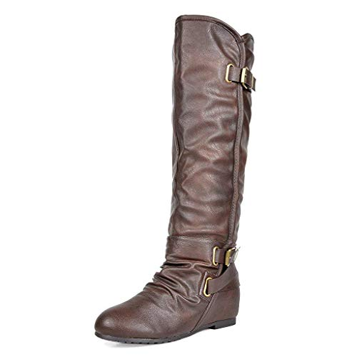 - DREAM PAIRS Women's New-Akris Brown Pu Knee High Hidden Wedge Winter Riding Boots Wide Calf Size 8 B(M) US