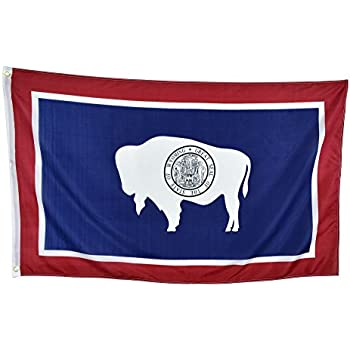 Shop72 US Wyoming State Flags - Wyoming Flag - 3x5' Flag From Sturdy 100D Polyester - Canvas Header Brass Grommets Double Stitched From Wind Side