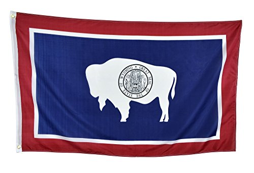Shop72 US Wyoming State Flags - Wyoming Flag - 3x5' Flag From Sturdy 100D Polyester - Canvas Header Brass Grommets Double Stitched From Wind Side (Indoor Flag Wyoming)