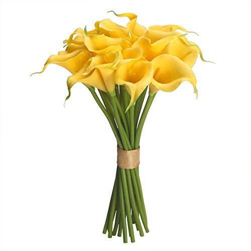 Easin Calla Lily Bridal Bouquet Wedding Flowers 20 PCS a Set Artificial Flowers Home Decor Real Touch (Yellow)