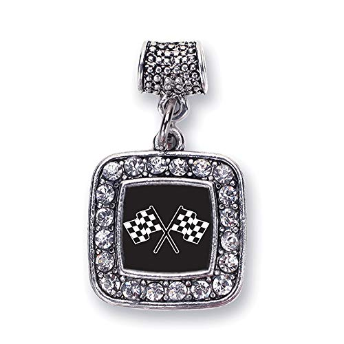 - Inspired Silver - Racing Flags Memory Charm for Women - Silver Square Charm for Bracelet with Cubic Zirconia Jewelry