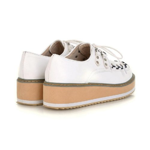 Charm Foot Vintage Preppy Style Womens Girls Wedge Heels Platform Shoes Size 4.5-10 White xZAYc