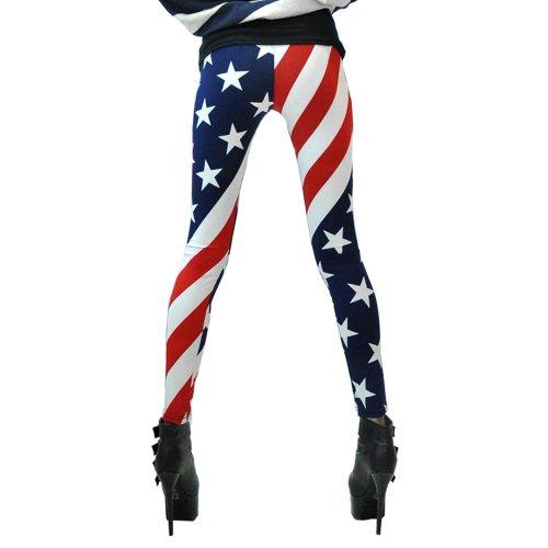 LOCOMO Women American US Star Country Flag Legging S-M FFT007 Blue Red White