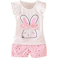MH-Lucky Baby Girl Clothes Summer Outfits Short Sets 2 Pieces with T-Shirt + Short Pants
