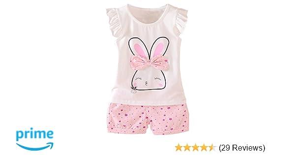 e130213d4d27 Amazon.com  MH-Lucky Baby Girl Clothes Summer Outfits Short Sets 2 ...