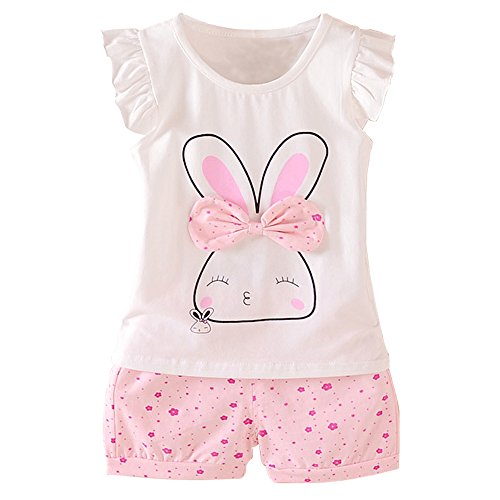 MH-Lucky Baby Girl Clothes Summer Outfits Short Sets 2 Pieces with T-Shirt + Short Pants (Pink, 18-24 Months)]()